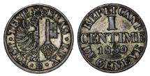 World Coins - Swiss Cantons. AR 1 Centime 1839. XF