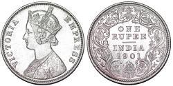 World Coins - British India. Victoria (1840-1901) Silver Rupee 1901 C. Choice AU/UNC