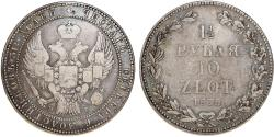 World Coins - Imperial Russia. Coinage for Poland. AR 10 Zloty - 1 1/2 Ruble 1836 HG. VF, toned