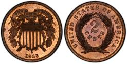 Us Coins - USA. Pattern Coin. Cu 2 Cents 1863. Judd-312. PCGS PR65RB