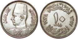World Coins - Egypt. Farouk (1936-1952). Nice 10 Millieme 1938. AU/XF+