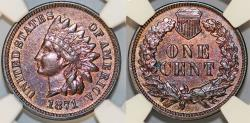 Us Coins - USA. Indian Cent 1871. NGC AU details, cleaned!