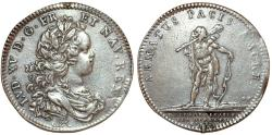 World Coins - France. Louis XV. (1715-1774) AR Jeton Hercules 1719 by J. C. Roettiers. VF.