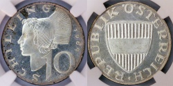World Coins - Austria. Silver 10 Schillings 1964. NGC PF65, toned Proof.