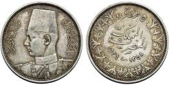 World Coins - Egypt. King Farouk I. AR 5 Piastres 1939. XF