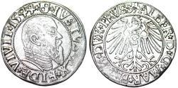 World Coins - Duchy of Prussia (Ex-Teutons State). Albrecht von Hohenzollern (1525-1568) Silver Gross 1544. Good XF