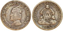 World Coins - Honduras. Republic. AR 50 Centavos 1932. VF