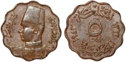 World Coins - Egypt. Farouk (1936-1952). AE 5 Milliemes 1943. UNC