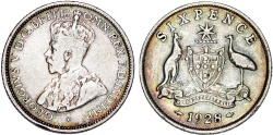 World Coins - British Commonwealth: Australia. Silver 6 Pence 1928. aXF