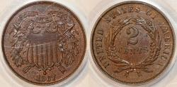 Us Coins - USA. Shield Two Cent 1867. PCGS MS63 BN