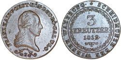 World Coins - Imperial Austria. Hungarian mint. Franz I. Cu 3 Kreuzer 1812 S. Choice AU/UNC, nice.