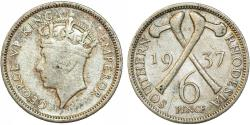World Coins - Southern Rhodesia as British Colony. King George VI. AR 6 Pence 1937. VF