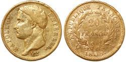 World Coins - France. Napoleon Bonaparte (1804-1814). AV 20 Francs 1808A. Good VF