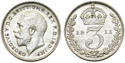 World Coins - Great Britain. King George V (1911-1935) Silver 3 Pence 1911. Choice AU