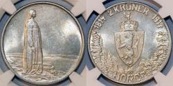 World Coins - Norway. King Haakon VII. AR 2 Kroner 1914. Constitution. NGC MS62, NICE!