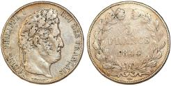 World Coins - France. king Louis Philippe (1830-1848). Silver 5 Francs 1844 A. Fine+