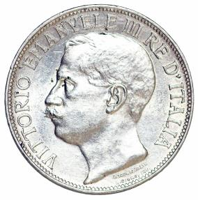 World Coins - Kingdom of Italy. Commemorative AR 2 Lire 1911 R. AU+. Scarce.