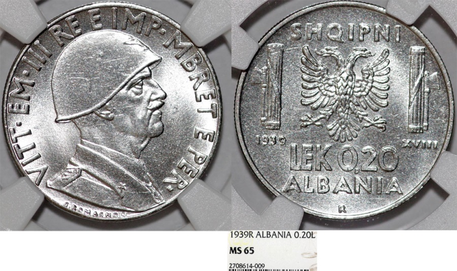World Coins - Albania. Italian Occupation of WWII, Vittorio Emanuelle III. SS-ST.20 Lek 1939-R. NGC MS65!