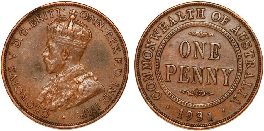 World Coins - British Commonwealth Australia. Bronze Penny 1931. Good  XF.