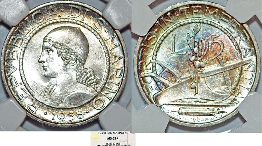 World Coins - San Marino. Republic. AR 5 Lire 1938R. NGC MS65*, Choice BU, wonderfull example!