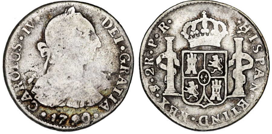 World Coins - Spanish Colony. Bolivia. Charles IV (1788-1808). Silver 2 Reales 1790. Fine+
