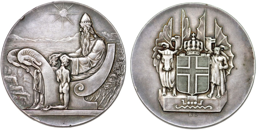 """World Coins - Iceland. Republic. Three-Piece Mint Set 1930. Commemorating """"1000th years of Alting"""". AU/UNC"""