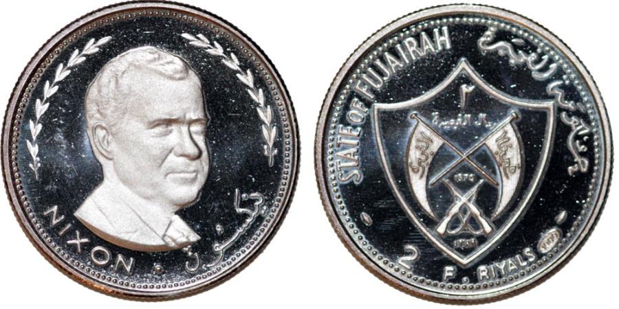"World Coins - Emirates: Fujairah. Silver Commemorative 2 Riyals 1969 ""NIXON"" . Proof"
