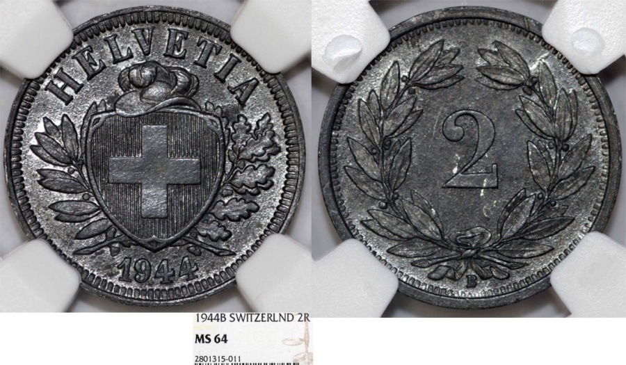 World Coins - Switzerland. WWII Federation issue. Zinc 2 Rappen 1944 B. NGC MS64