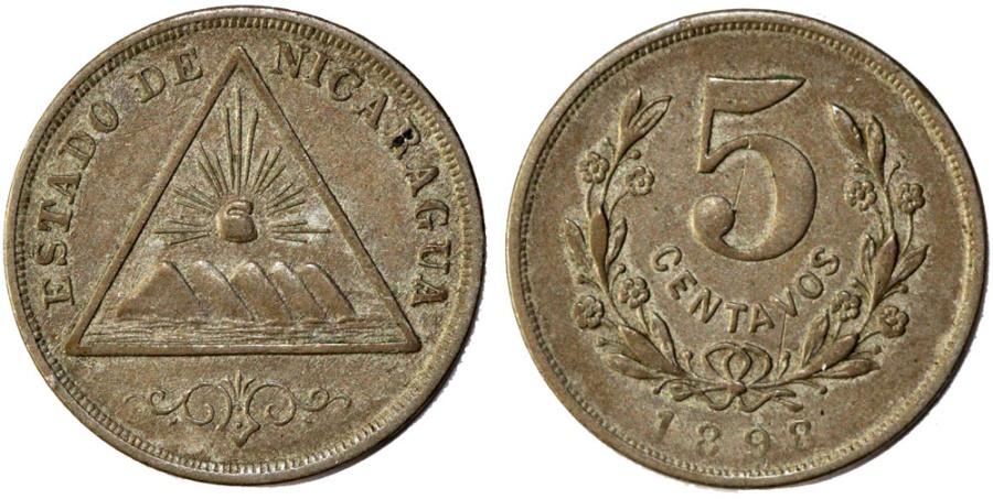 World Coins - Nicaragua. Republic. AR 5 Centavos 1898. Choice VF.