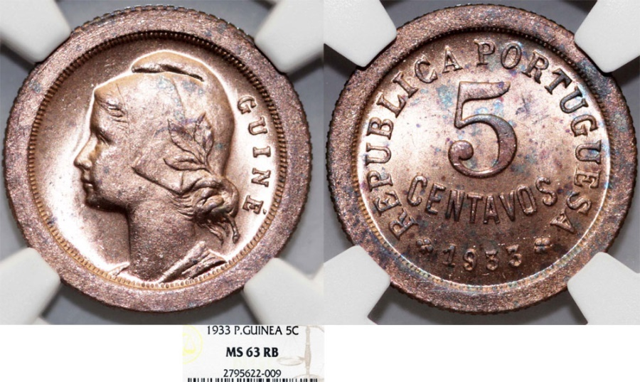 World Coins - Guinea-Bissau. Potugal rule. AE 5 Centavos 1933. NGC MS63 RB