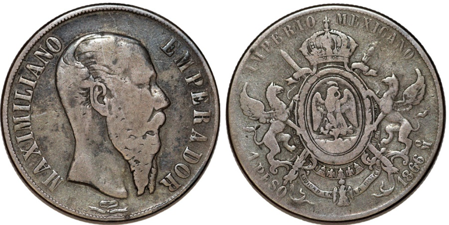 World Coins - Mexico. Empire of Maximilian (1864-1867). AR Peso 1866 Mo. Fine+
