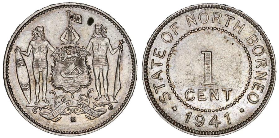 World Coins - British North Borneo. CU-NI 1 Cent 1941 H. AU