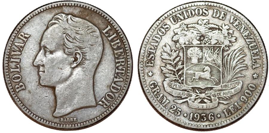 World Coins - Venezuela. Republic. (AR 25 Grams) 5 Bolivars 1936. VF