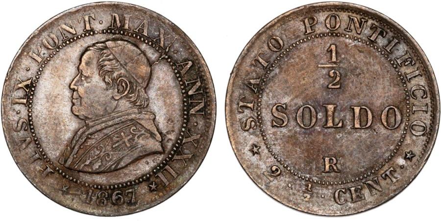 World Coins - Italy. Papal State. Pope Pius IX (1846-1878). Cu 1/2 Soldo 1867R (year XXI). aVF