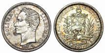 World Coins - Bolivia. AR 1 Bolivar 1960. Choine UNC, Toned