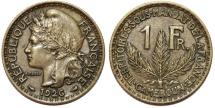 World Coins - French Colony of Cameroon. Aluminium-Bronze 1 Franc 1926 A. Choice XF.
