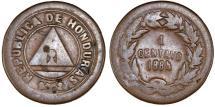 World Coins - Honduras. Republic. AE 1 Centavo 1884. About VF