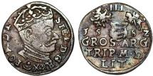 World Coins - Poland. Lithuania. Stephen Bathori (1576-1586). Silver 3 Gross 1582. Toned Choice VF