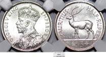 World Coins - British Colony: Mauritius. King George V. AR 1/2 Rupee 1934. NGC MS64!
