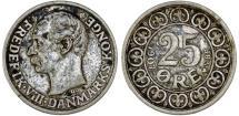 World Coins - Denmark. Frederick VIII. AR 25 Ore 1907 VBP. Choice VF