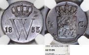 World Coins - Kingdom of Netherlands. Wilhelm III. AE 1/2 Cent 1853. NGC AU55 BN