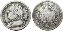 World Coins - France. king Louis XVIII. ( First Gouvernement Royal 1814). Silver 5 Francs 1814 A. About VF, RARE