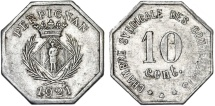World Coins - France. Emergency Coins. City of Perpignan. 10 Cents 1921. VF+
