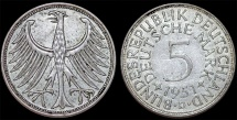 World Coins - Germany. Western Republic. Silver Trade 5 Mark 1951 D. XF