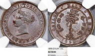 British Colony: Ceylon. Queen Victoria II (1840-1901). Bronze 1/2 Cent 1898. NGC AU58 BN