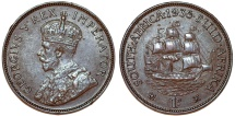 World Coins - South Africa as British Colony. George V. BRZ 1 Penny 1935. Choice XF