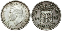 World Coins - Great Britain. King George VI. Silver 6 Pence 1939. XF, toned