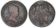 World Coins - Spain. Isabel II. CU 4 Maravedis 1847. AVF