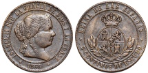World Coins - Spain. Isabel II. CU 5 Centimos 1868. Good XF.