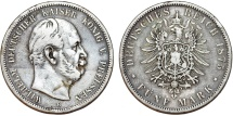 World Coins - Germany. Empire. Prussia. Wilhelm I (1871-1888). Silver 5 Mark 1875 B. VF